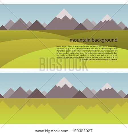 Vector Mountain Background with geometrical shapes in a trendy flat style. Seamless border with the image of mountains, sky and fields.