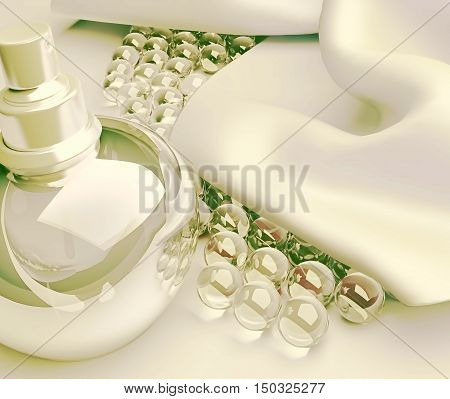 Perfume and beads on light silk. 3D illustration