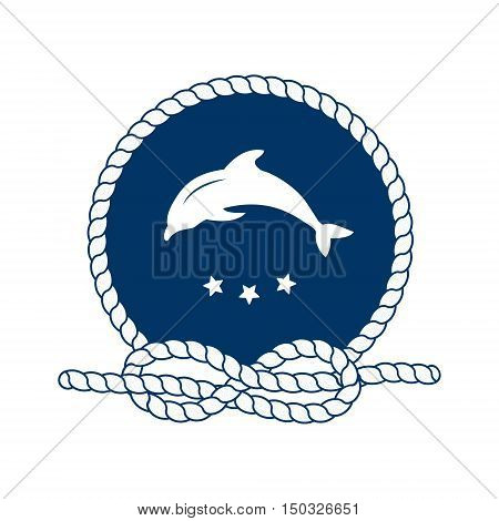 Nautical badge with jumping dolphin. Dolphin - sea animal. Round frame of rope. Sea nautical and travel badge. Symbol of sailors sail cruise and sea. Icon and design element. Marine symbol. Vector illustration.