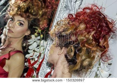 CAGLIARI, ITALY - November 22, 2015: Discovery Extro (fashion makeup and wigs) at the Fiera di Cagliari - Sardegna