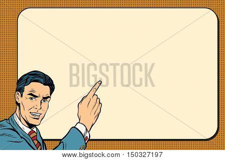Businessman showing on Billboard background, pop art retro vector illustration