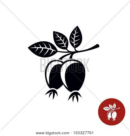 Rose hip leaves with berries black silhouette. Briar symbol.