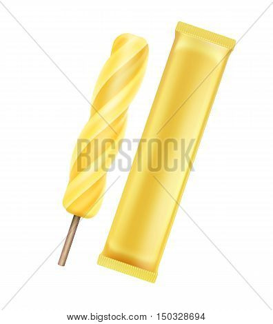 Vector Yellow Banana Spiral Popsicle Lollipop Ice Cream Fruit Juice Ice on Stick with Yellow Plastic Foil Wrapper for Branding Package Design Close up Isolated on Background.