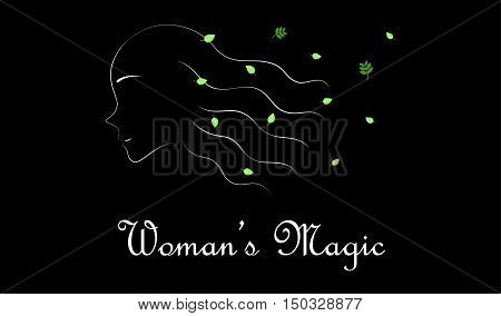 Woman with herbal leaves, the breeze gently blow through her hair.