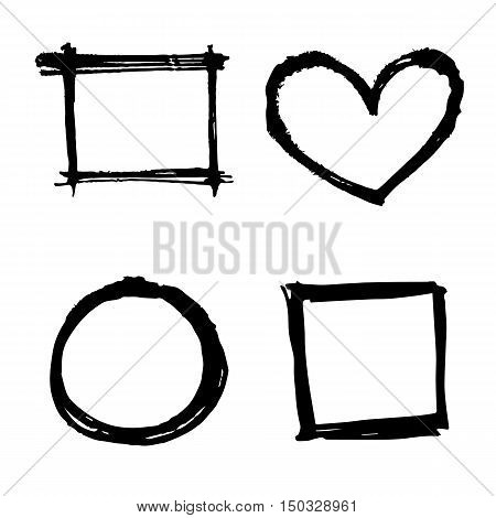 four style square heart and round black grunge frame vector