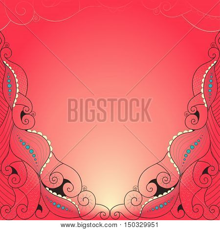 Abstract background. Bright colors. Curls scales tentacles.