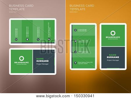 Corporate Business Card Print Template. Vertical And Horizontal Business Card Templates. Vector Illu