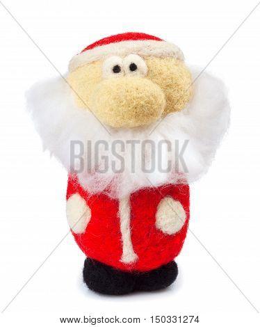 Santa Claus christmas decoration isolated on white background. Felting handmade toy Santa Claus isolated on white background. Christmas decoration. Santa Claus puppet
