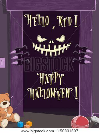 Happy Halloween Background. Night. Spooky Nightmare Monster Looking Scary Eyes Inside Kids Room From