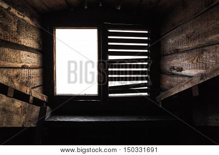 Attic Window With Shutters In Old Wooden Interior
