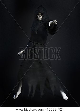 Female reaper or witch dressed in a black cloak casting a spell 3D rendering. Dark background.