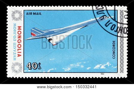 MONGOLIA - CIRCA 1984 : Cancelled postage stamp printed by Mongolia, that shows Concorde.