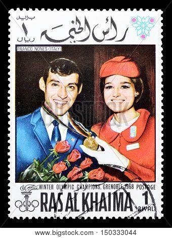 RAS AL KHAIMA - CIRCA 1968 : Cancelled postage stamp printed by Ras Al Khaima, that shows Franco Nones.