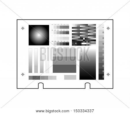 Computer to plate department. CTP technology printing processes. Plate vector icon with test gradient, press and print marks. Print grey set by ten percent. Gray balance. Black separation in RIP.