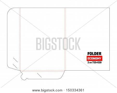 Economy folder and die cut, stamp. Empty shablon template for blank and card with lock. Vector black isolated circuit, line folder on white background. 2 on 720x520.