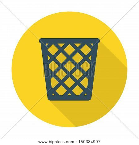 trashcan flat icon with long shadow for web design