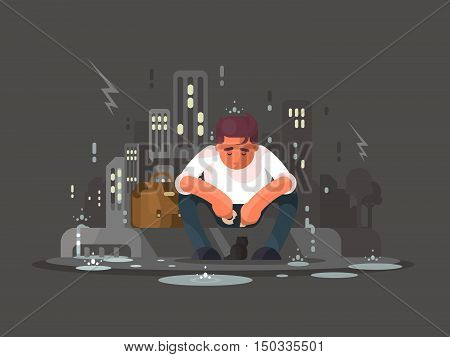 Young man sitting on curb in depression in rain. Vector illustration