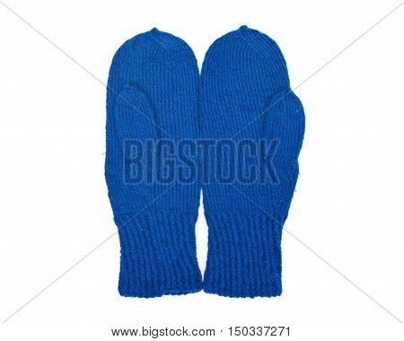 Chunky knit wool mittens separated on white background