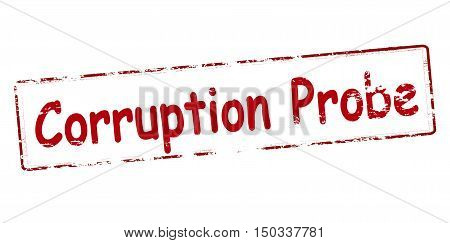 Rubber stamp with text corruption probe inside vector illustration