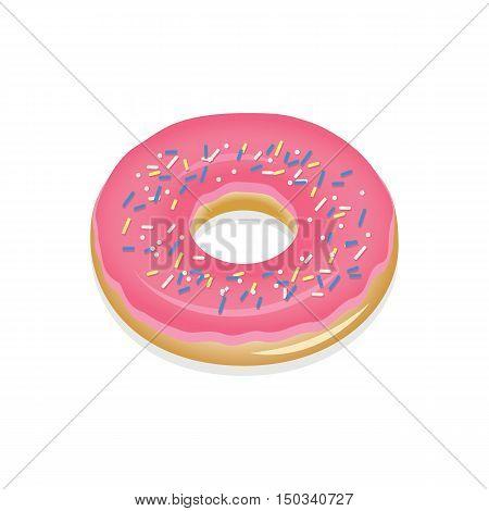 Donut with pink glaze. Donut vector illustration