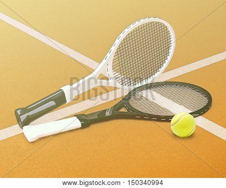 Tennis; rackets; sphere; court; game; grund; marking. 3D illustration