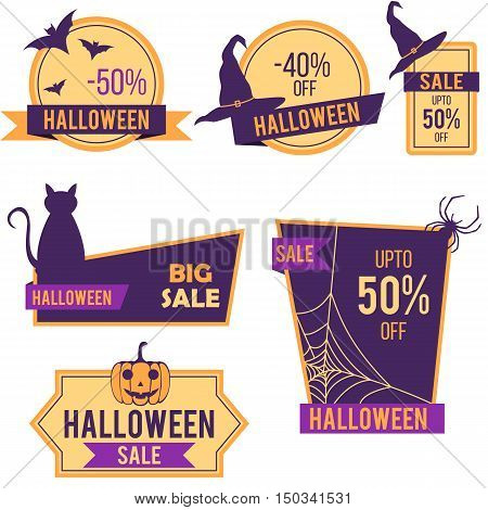 Halloween sale stickers and labels vector designs