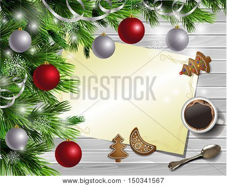 Christmas New Year design light rustic wooden background with christmas tree and silver and red balls and wish list coffee cookies