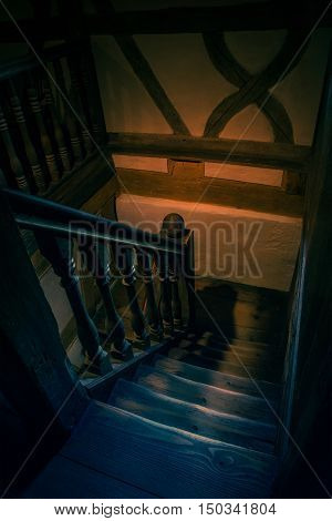 Interior capture of wooden steps in an old house