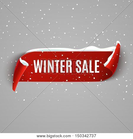 Winter sale background with red realistic ribbon. Winter poster or banner promotional design with snow. Vector discount marketing element.