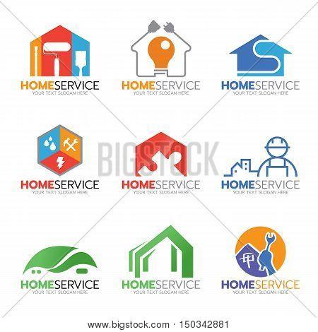 Home service and repair logo vector illustration set design