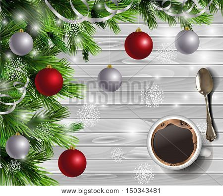Christmas New Year design light wooden background with coffee teaspoon christmas tree and silver and red balls