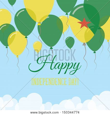 French Guiana Independence Day Flat Greeting Card. Flying Rubber Balloons In Colors Of The French Gu