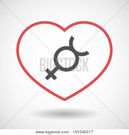 Isolated Line Art Red Heart With  The Mercury Planet Symbol