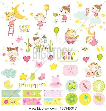 Cute Baby Girl Scrapbook Set. Vector Scrapbooking. Decorative Elements. Baby Tags, Labels, Stickers, Notes.