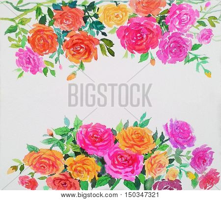 Watercolor original painting colorful of rose pattern and emotion in white background