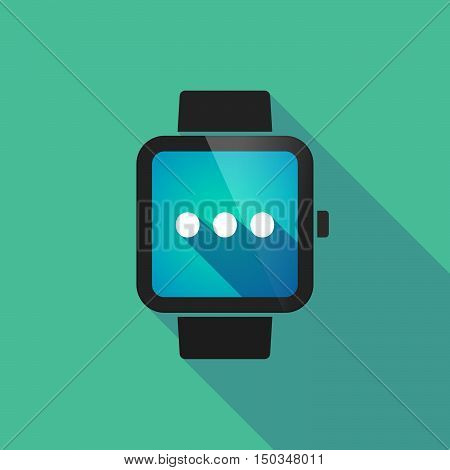 Long Shadow Smart Watch With  An Ellipsis Orthographic Sign