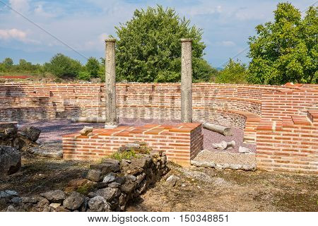 The Odeum of the Great Thermae at the Archaeological Park of Dion. Pieria Macedonia Greece