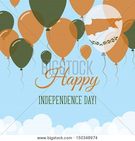 Cyprus Independence Day Flat Greeting Card. Flying Rubber Balloons In Colors Of The Cypriot Flag. Ha