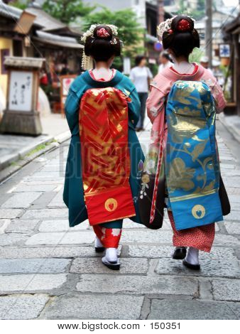 japanese geisha girls walking down the street poster