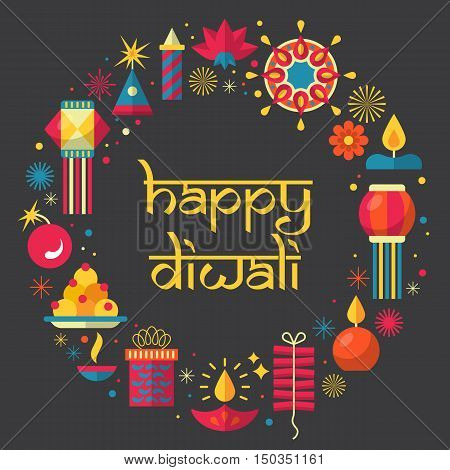 Diwali Hindu Festival Greeting Card Design With Flat Modern Elements