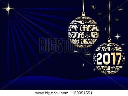 christmas and new year 2017 background two christmas balls created from text with stars on night dark blue sky vector illustration