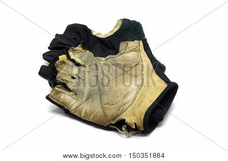 Worn Sport Gloves Half Finger - Isolated on White Background