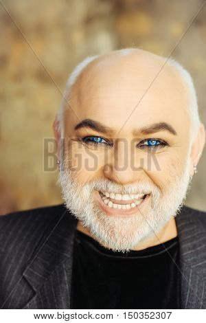 Bearded Old Man With Blue Eyes