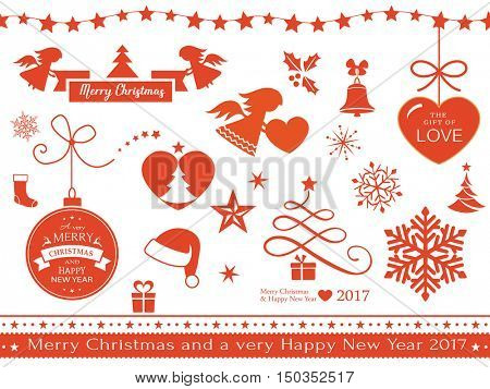 A set of flat Christmas design elements as seamless borders, snow flakes, gifts, stocking, bell, angel, holly, banners, star, Santa's hat and line art Christmas tree isolated on white.