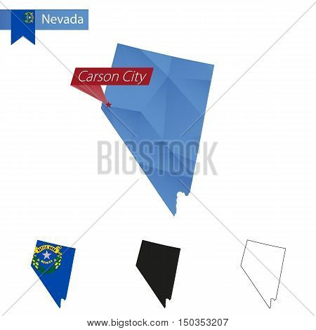 State Of Nevada Blue Low Poly Map With Capital Carson City.