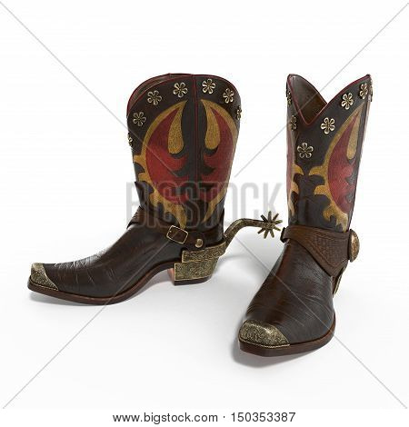 American rodeo cowboy traditional leather boots with authentic Western riding spurs on white background. 3D illustration