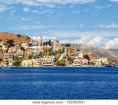 monastery and chapel on the hill Symi island, dollhouses, Greece