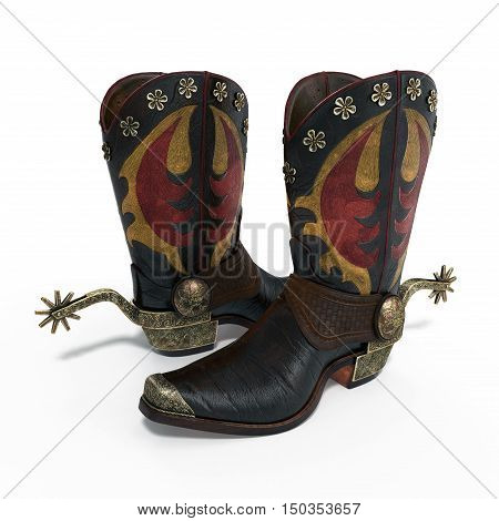 American West rodeo cowboy pair of leather western riding boots with authentic ranching spurs on white background. 3D illustration