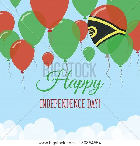 Vanuatu Independence Day Flat Greeting Card. Flying Rubber Balloons In Colors Of The Ni-vanuatu Flag