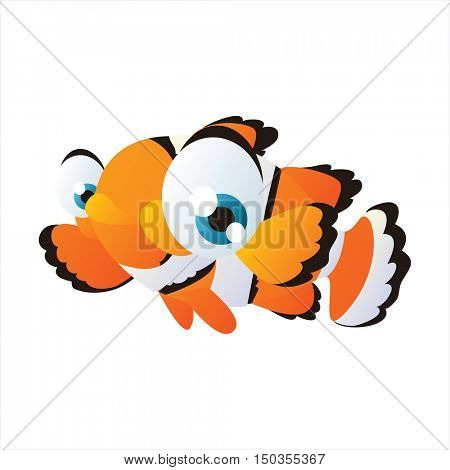 vector cute isolated animal character illustration. Funny aquarium tropical exotic clown fish
